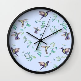 hummingbirds on celestial sky and leaves Wall Clock
