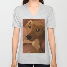 Lab Lounging on a Chair Unisex V-Neck