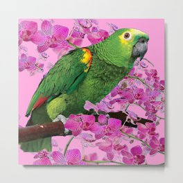 PINK TROPICAL GREEN PARROT & FUCHSIA ORCHIDS  ART Metal Print