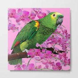 PINK TROPICAL GREEN PARROT & FUCHSIA ORCHIDS  ART Metal Print