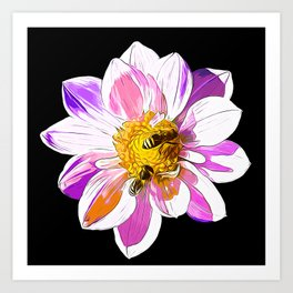 bees on flower vector art Art Print