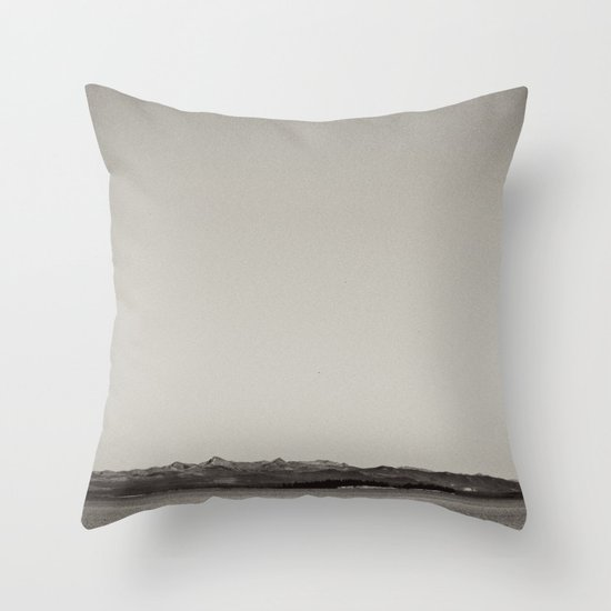 Old School Black & White Landscape Throw Pillow