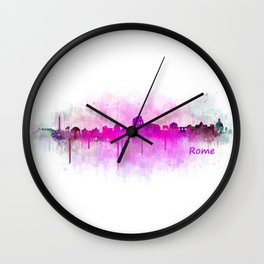Rome city skyline HQ v05 pink Wall Clock