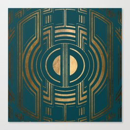 Art Deco Unfinished Love In Teal Canvas Print