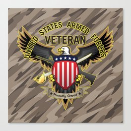 United States Armed Forces Military Veteran Eagle - Proudly Served Canvas Print