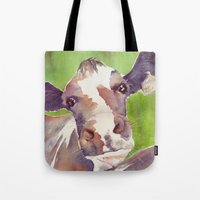 cow Tote Bags featuring cow by Michele Petri