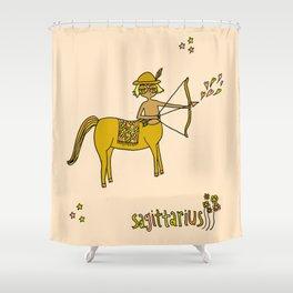 sagittarius wild horses retro zodiac art by surfy birdy Shower Curtain