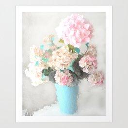 Shabby Chic Hydrangea Flowers Pink White Aqua Blue Art Print