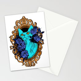 Neon Blue Hairless Sphynx Cat with Mystique Blue Roses and Golden Frame - Pet Portrait Line Tattoo Stationery Cards