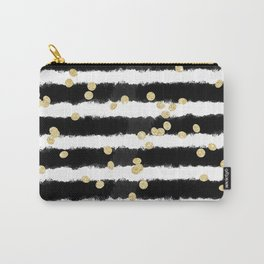 Modern black watercolor stripes chic gold confetti Carry-All Pouch