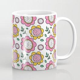 Colorful Pink and Yellow Flower Pattern II Coffee Mug
