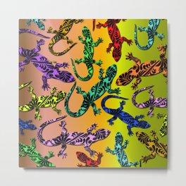 Gecko Deco Pattern Metal Print
