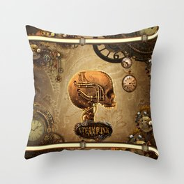 Steampunk, awesome skull Throw Pillow