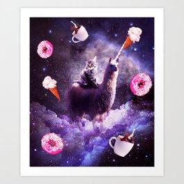 Outer Space Cat Riding Llama Unicorn - Donut Art Print