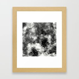 Deja Vu - Black and white, textured painting Framed Art Print