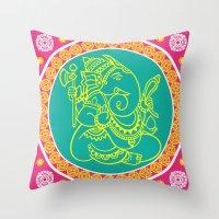 ganesh Throw Pillows featuring Ganesh by Chetna Shetty