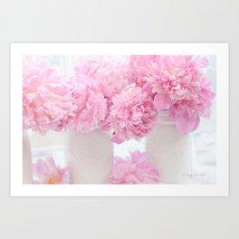 Romantic Shabby Chic Pink Peonies  Art Print