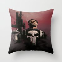 punisher Throw Pillows featuring Punisher by Dave Seguin