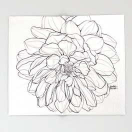 Ink Illustration of a Dahlia Throw Blanket