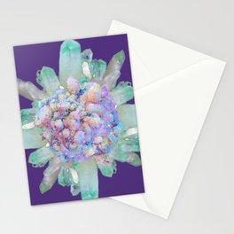SPARKLING GREEN & PURPLE QUARTZ CRYSTALS PURPLE ART Stationery Cards