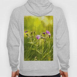 Beautiful meadow flowers - geranium on a sunny day - brilliant bright colors Hoody