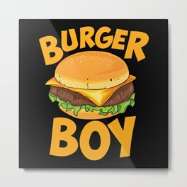 Burger Boy Loves Hamburger Metal Print