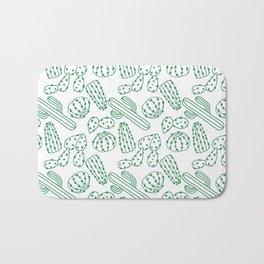 Turquoise cactus line drawing seamless pattern Bath Mat