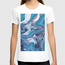 Liquid Marble Agate Glitter Glam #8 (Faux Glitter) #decor #art #society6 T-shirt