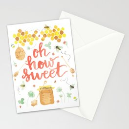 Oh How Sweet | Digital Watercolor Honeybees Bee Hive Honey Pot Stationery Cards