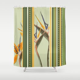 Bird of Paradise with stripes Shower Curtain