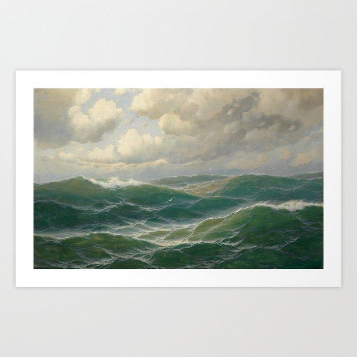 Vintage Ocean Oil Painting by Max Jensen Kunstdrucke