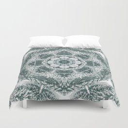 Winter snowy spruce forest mandala Duvet Cover