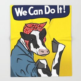We can do it! Rosie the Riveter Vegan Cow Throw Blanket