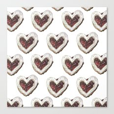 Valentine Heart Cookie Pattern Canvas Print