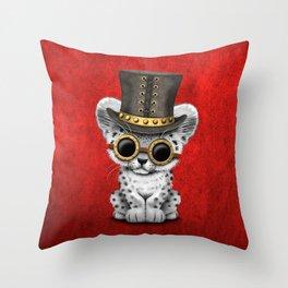 Steampunk Snow Leopard Cub Throw Pillow