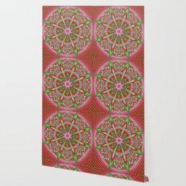 Red and Green Mandala Painting Wallpaper