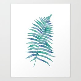 Blue Green Tropical Fern Art Print