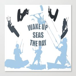Wake Up Seas The Day Kiteboarder In Teal Shades Canvas Print
