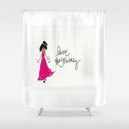 Love The Journey Girl in Pink Shower Curtain
