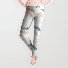 Pastel Pink and Blue Shark Silhouette Wave Leggings