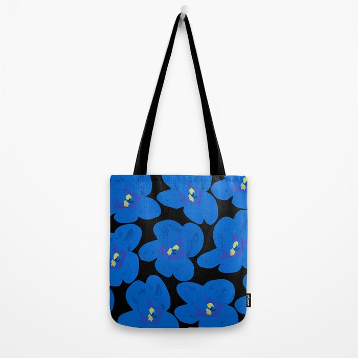 Blue Retro Flowers on Black Background #decor #society6 Tote Bag