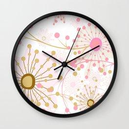 Retro . Abstract pattern Dandelions . Wall Clock