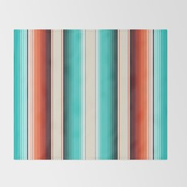 Navajo White, Turquoise and Burnt Orange Southwest Serape Blanket Stripes Throw Blanket