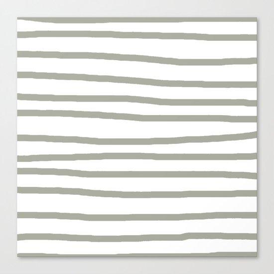 Simply Drawn Stripes Retro Gray on White Canvas Print