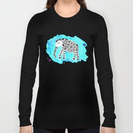 Elephant in blue watercolor background Long Sleeve T-shirt