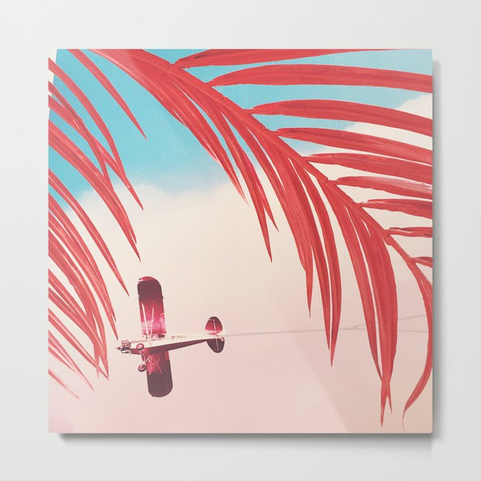 Plane through Pink Palms at The Museum of Ice Cream Metal Print