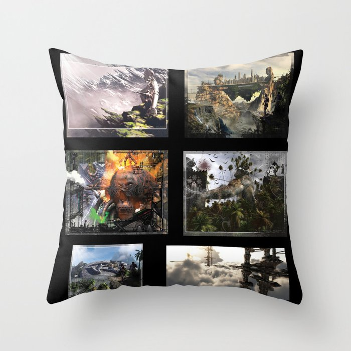 3D Fantasy multi  Throw Pillow