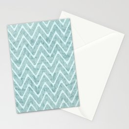 Palest Sea Green Zigzag Imitation Terrycloth Stationery Cards