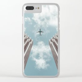 Plane high rise buildings Clear iPhone Case
