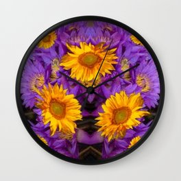 YELLOW SUNFLOWERS AMETHYST FLORALS Wall Clock